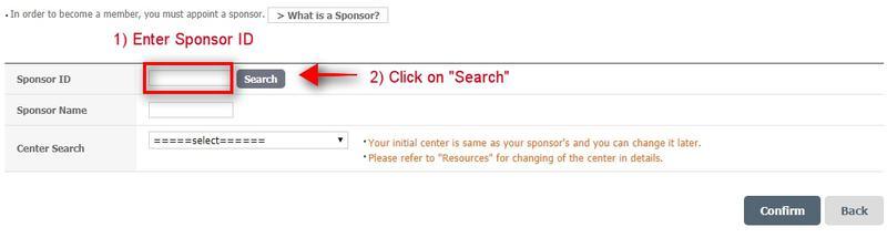 Search Atomy sponsor ID